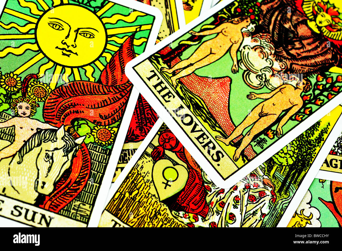 Fortune telling Tarot cards - Stock Image
