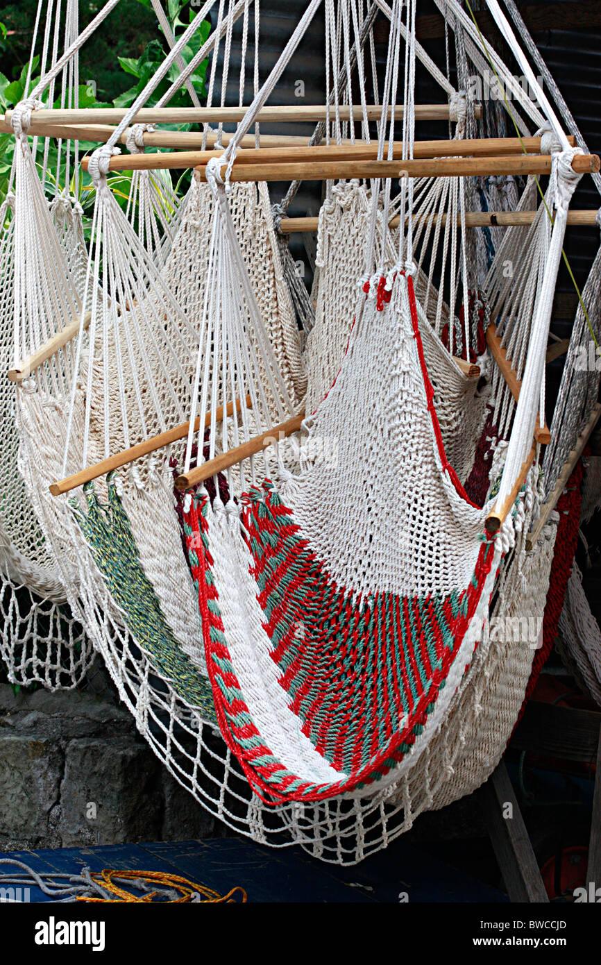 colorful hammocks for sale at Ensenada,Mexico - Stock Image