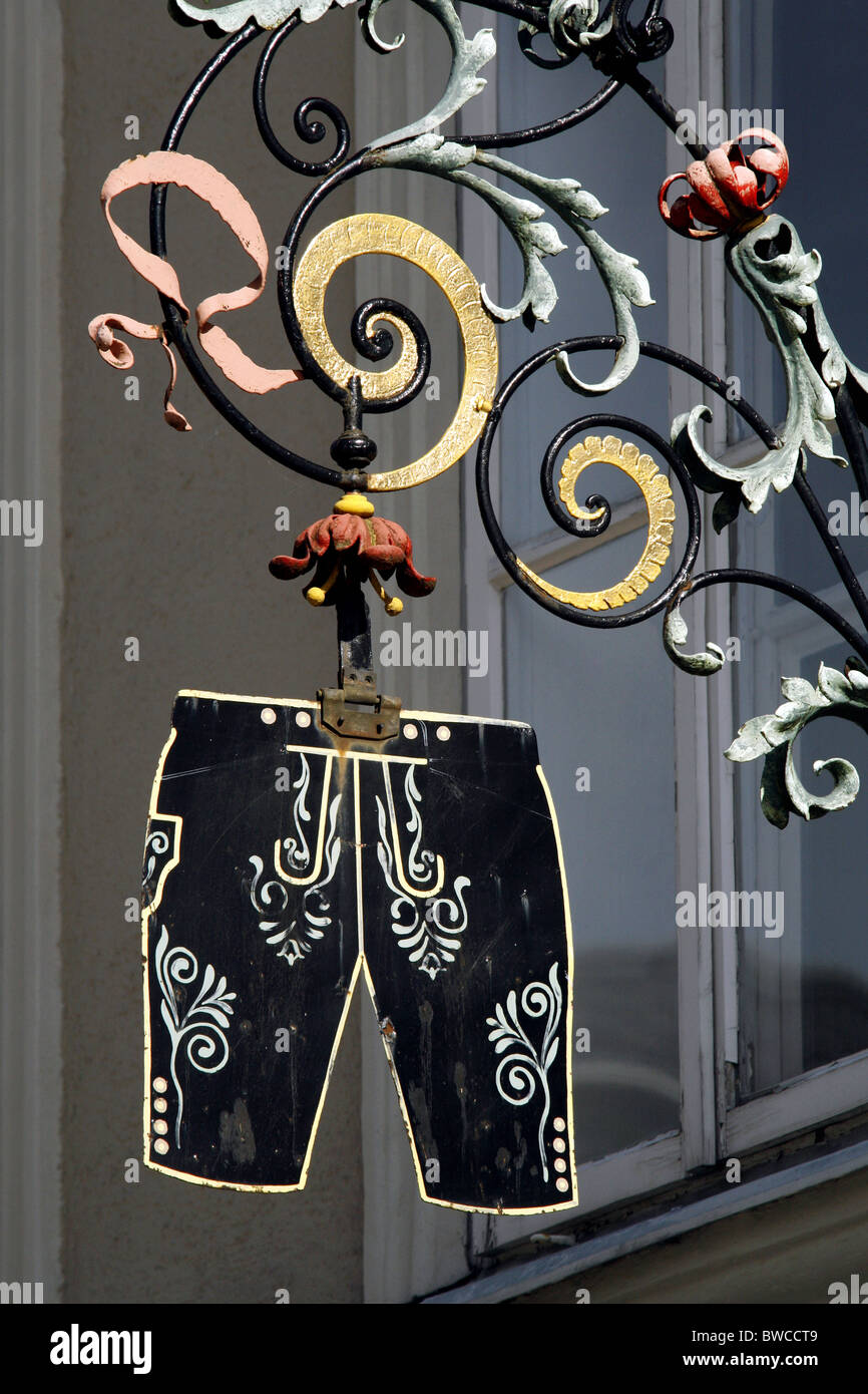 Jahn-Markl Lederhosen Shop Sign, Salzburg, Austria - Stock Image
