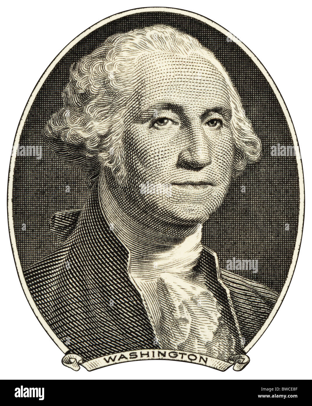 Portrait of U.S. president George Washington as he looks on one dollar bill obverse. NATIVE SIZE NOT UPSCALE - Stock Image