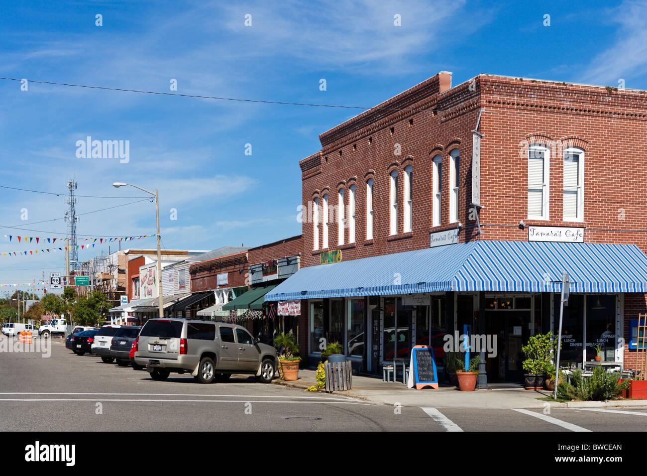 Market Street in downtown Apalachicola, Gulf Coast, Florida, USA - Stock Image