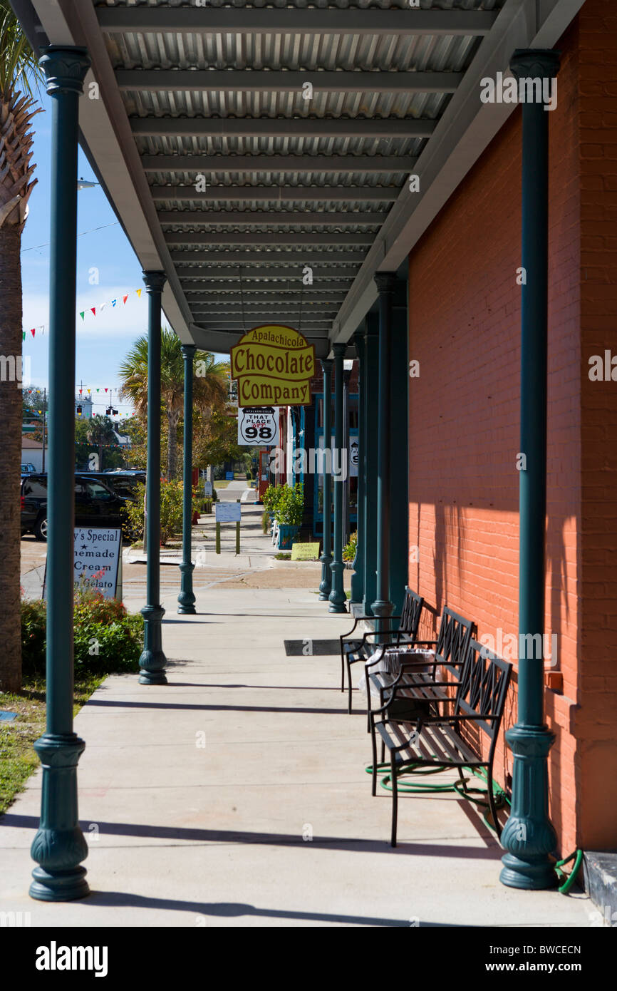 Shops on Ave D in downtown Apalachicola, Gulf Coast, Florida, USA - Stock Image