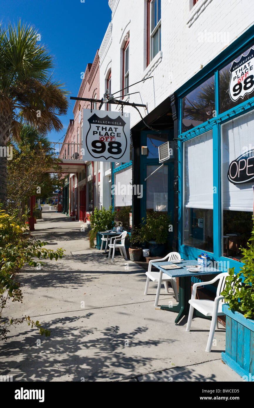 That Place off 98 cafe on Ave D in downtown Apalachicola, Gulf Coast, Florida, USA - Stock Image