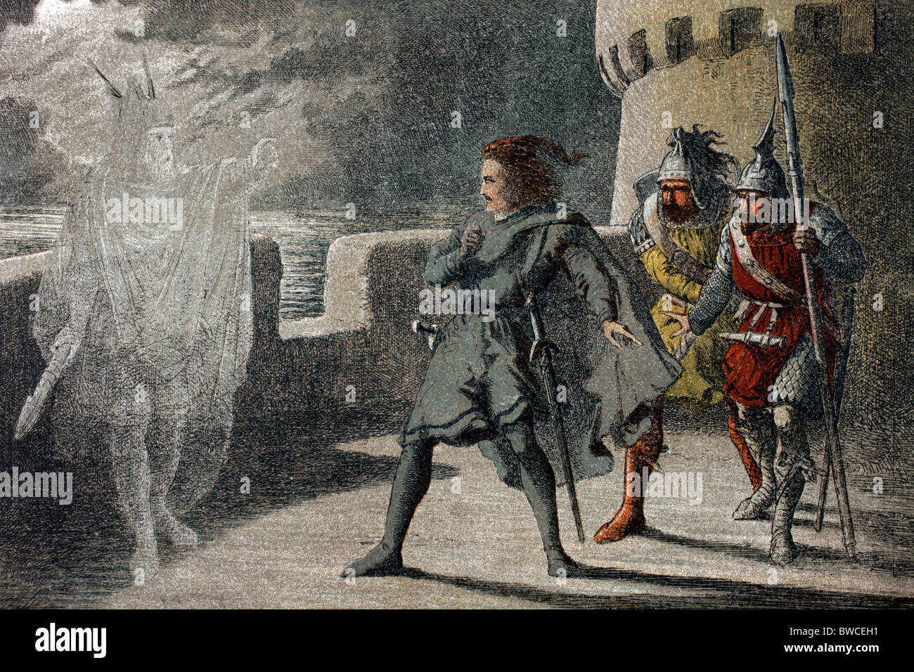 Hamlet sees the ghost of his father in Hamlet, Act I, Scene IV by William Shakespeare. - Stock Image