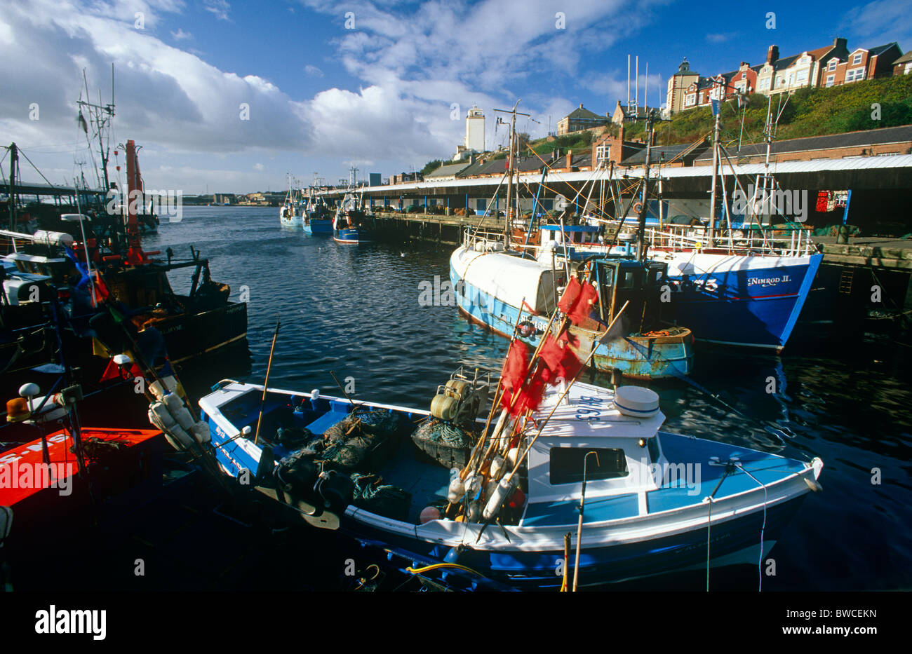 Fishing boats at North Shields Fish Quay, Tyne and Wear - Stock Image