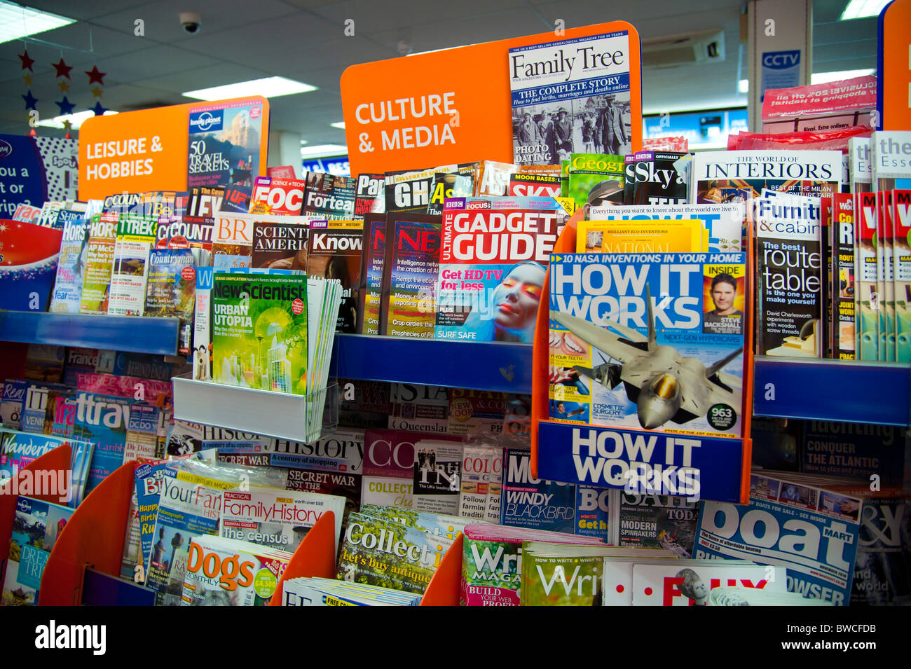 Shelves full of assorted UK weekly and monthly magazines and periodicals in a branch of high street newsagents WH Stock Photo