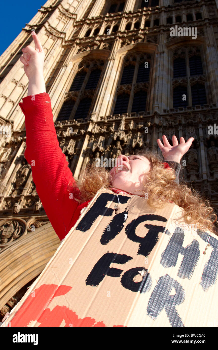 Protester with placard during student protest against tuition fees - Stock Image