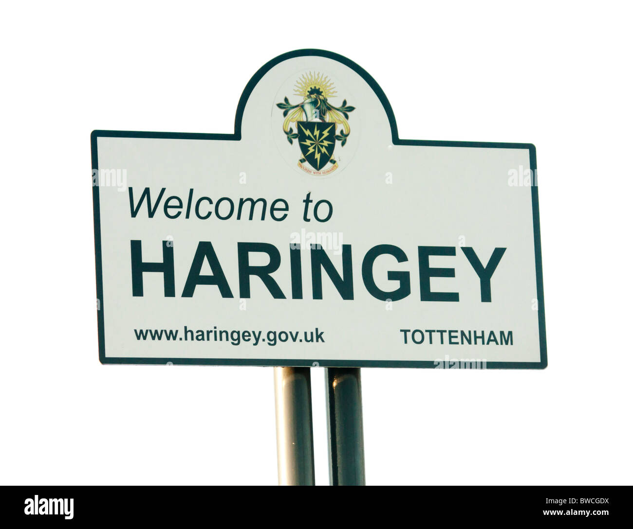 Welcome to Haringey sign East London UK - Stock Image