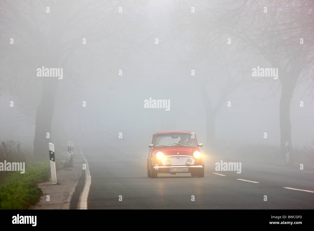 Autumn, thick fog, low visibility on a road. Essen, Germany. Stock Photo