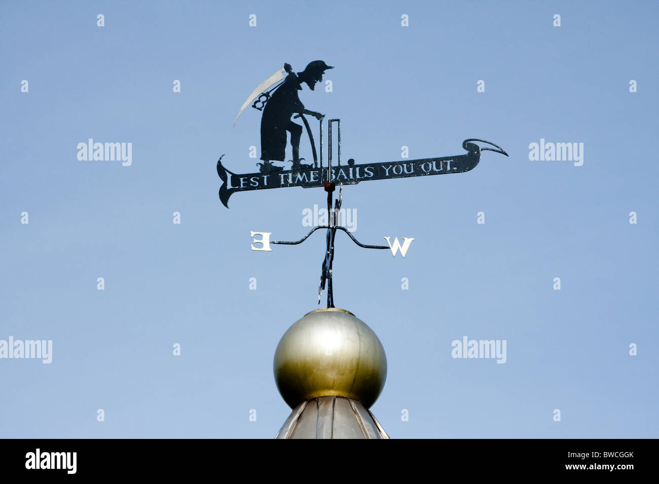 Lest time bails you out windvane atop cricket pavillion in Durham - Stock Image
