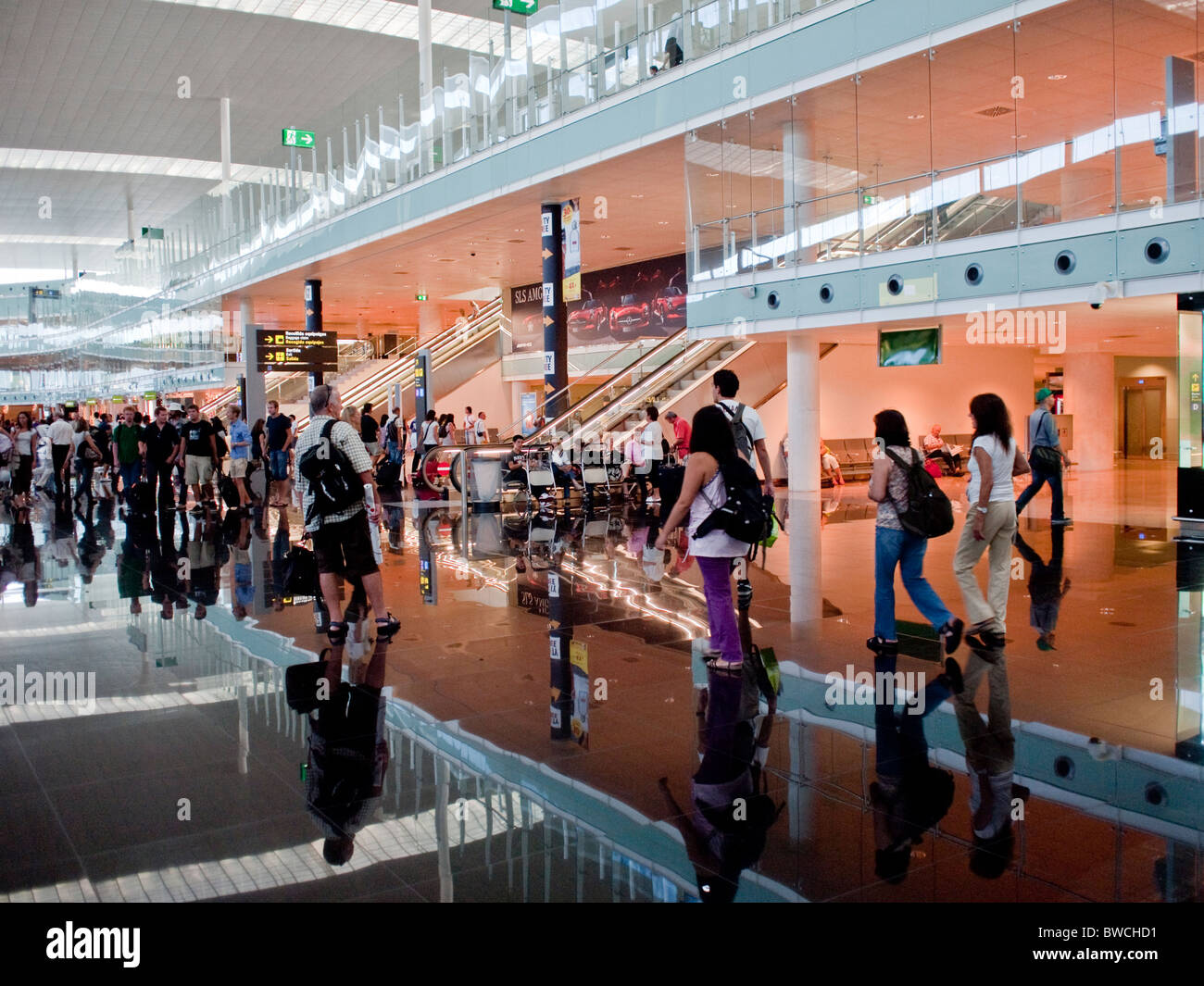 The new terminal from 2009 at Barcelona Airport or El Prat Airport - Stock Image