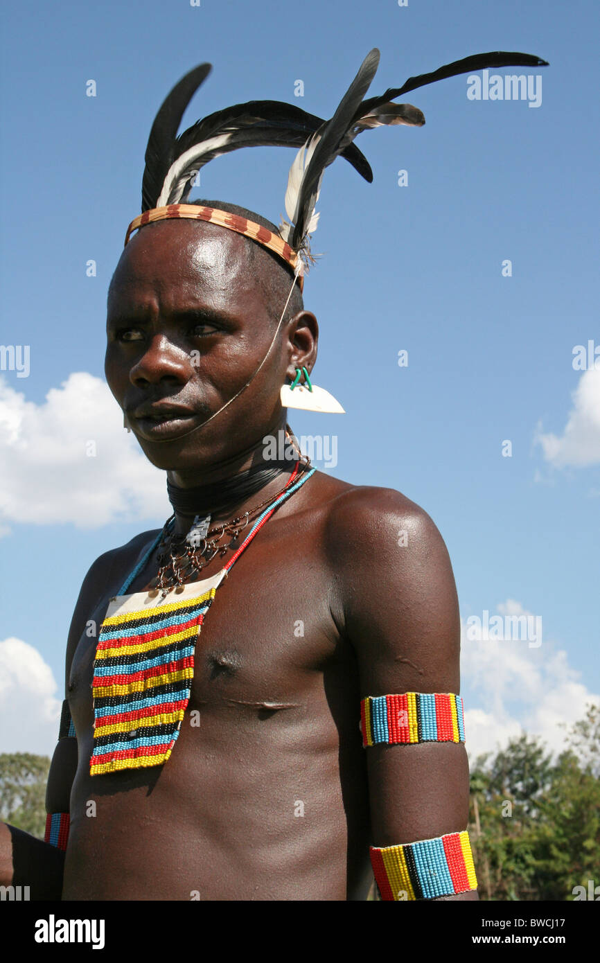 Bana Tribesman Wearing Feather Headress Taken In the Omo Valley, Ethiopia - Stock Image