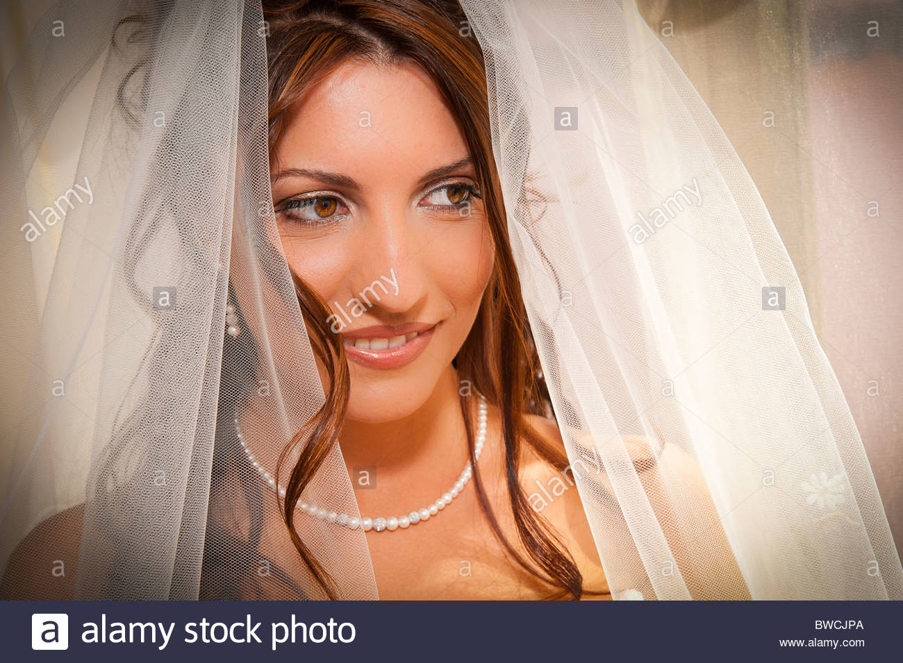 Bride with veil - Stock Image
