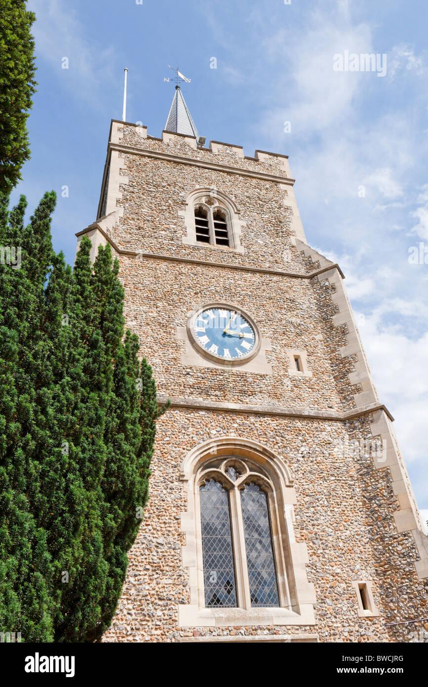 The flint rubble with stone dressings tower of St Marys church, Hertingfordbury, Hertfordshire - Stock Image