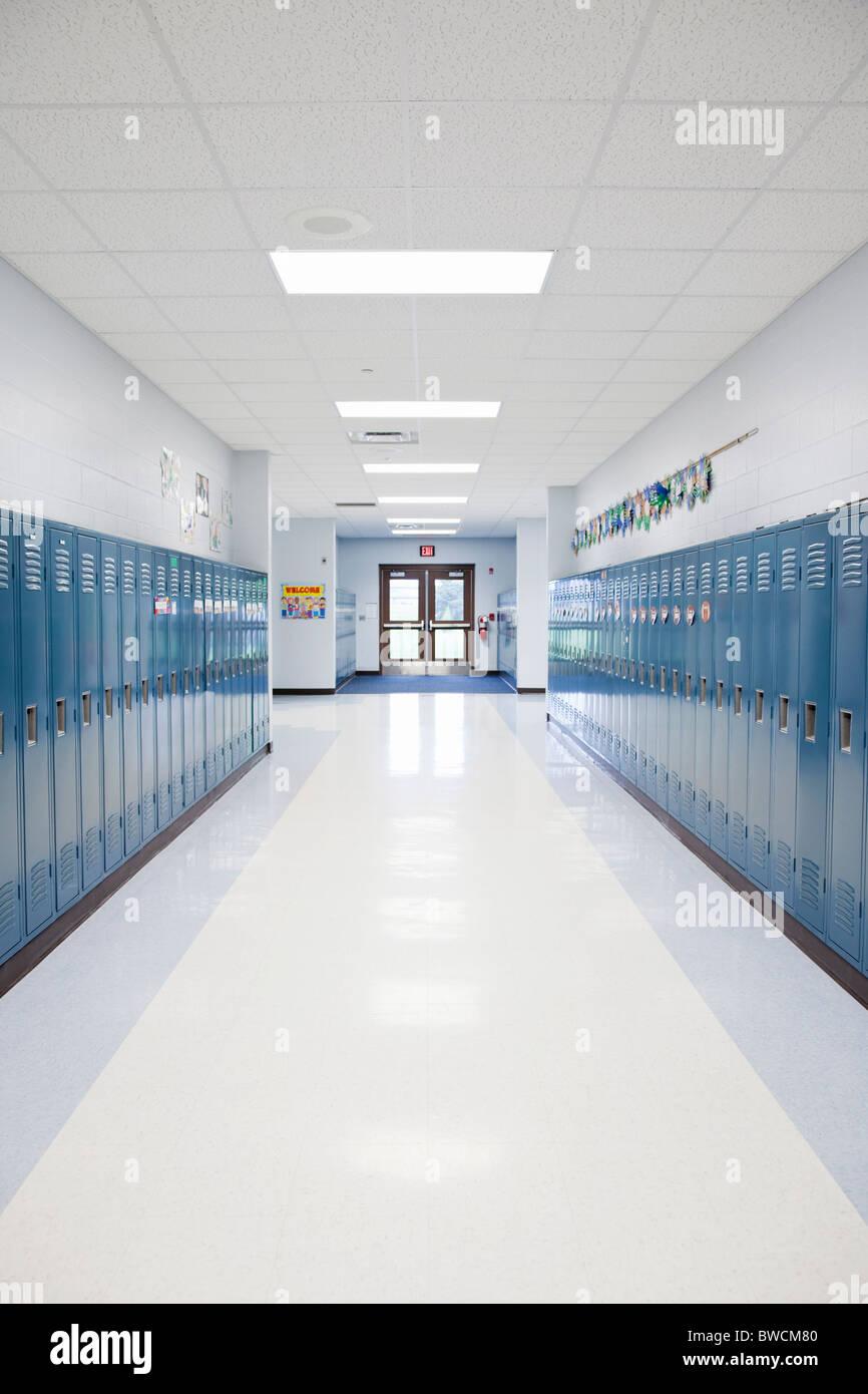 USA, Illinois, Metamora, Rows of lockers in school corridor - Stock Image