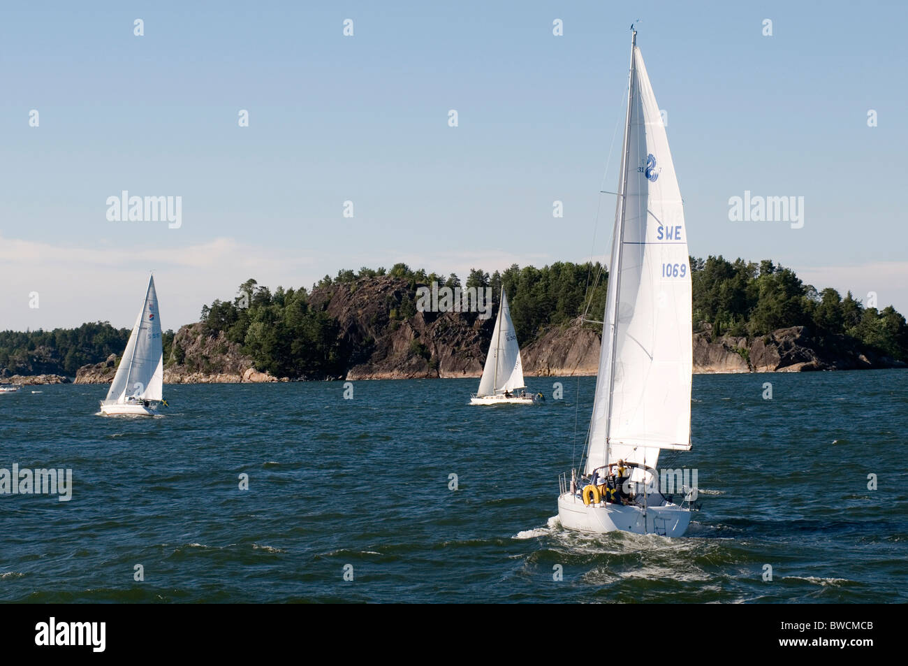 sailing boats boat in the stockholm archepeligos archepeligos archepeligo archepeligo yacht yachting sail sails - Stock Image