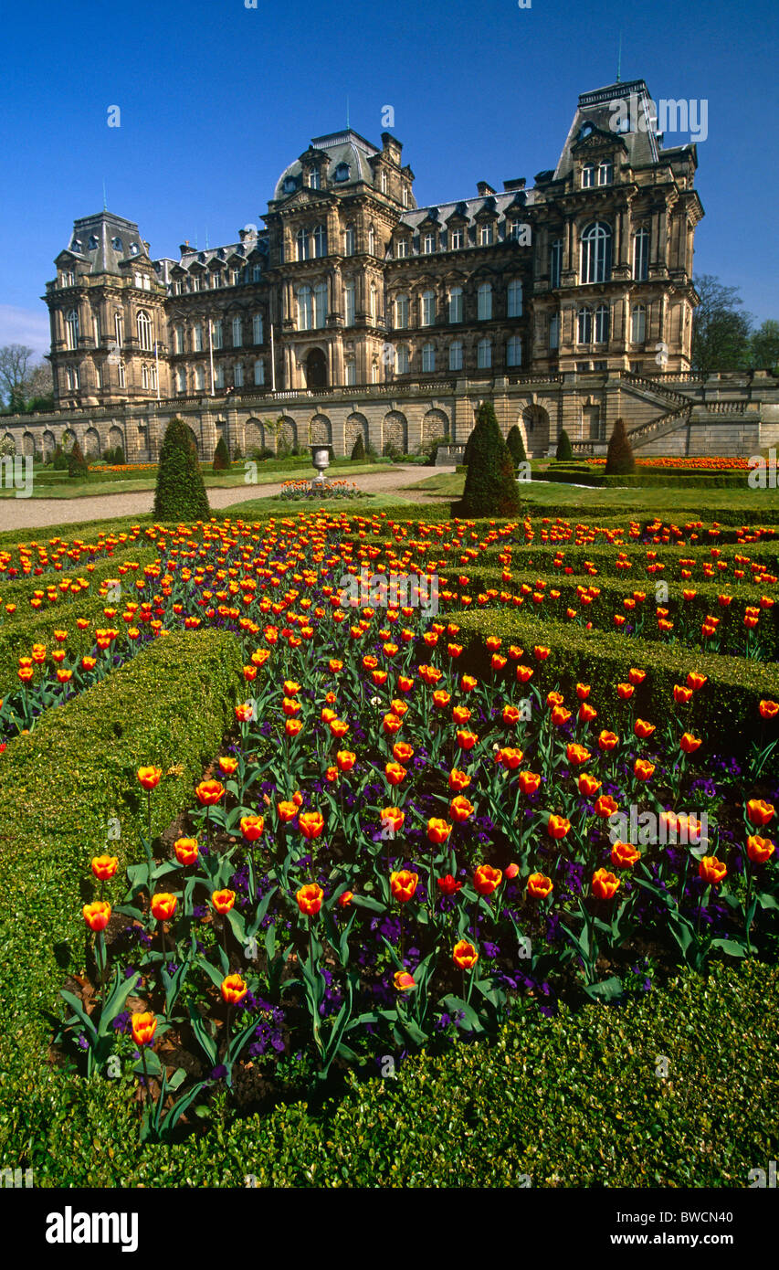 An external view of The Bowes Museum in Barnard Castle, County Durham - Stock Image