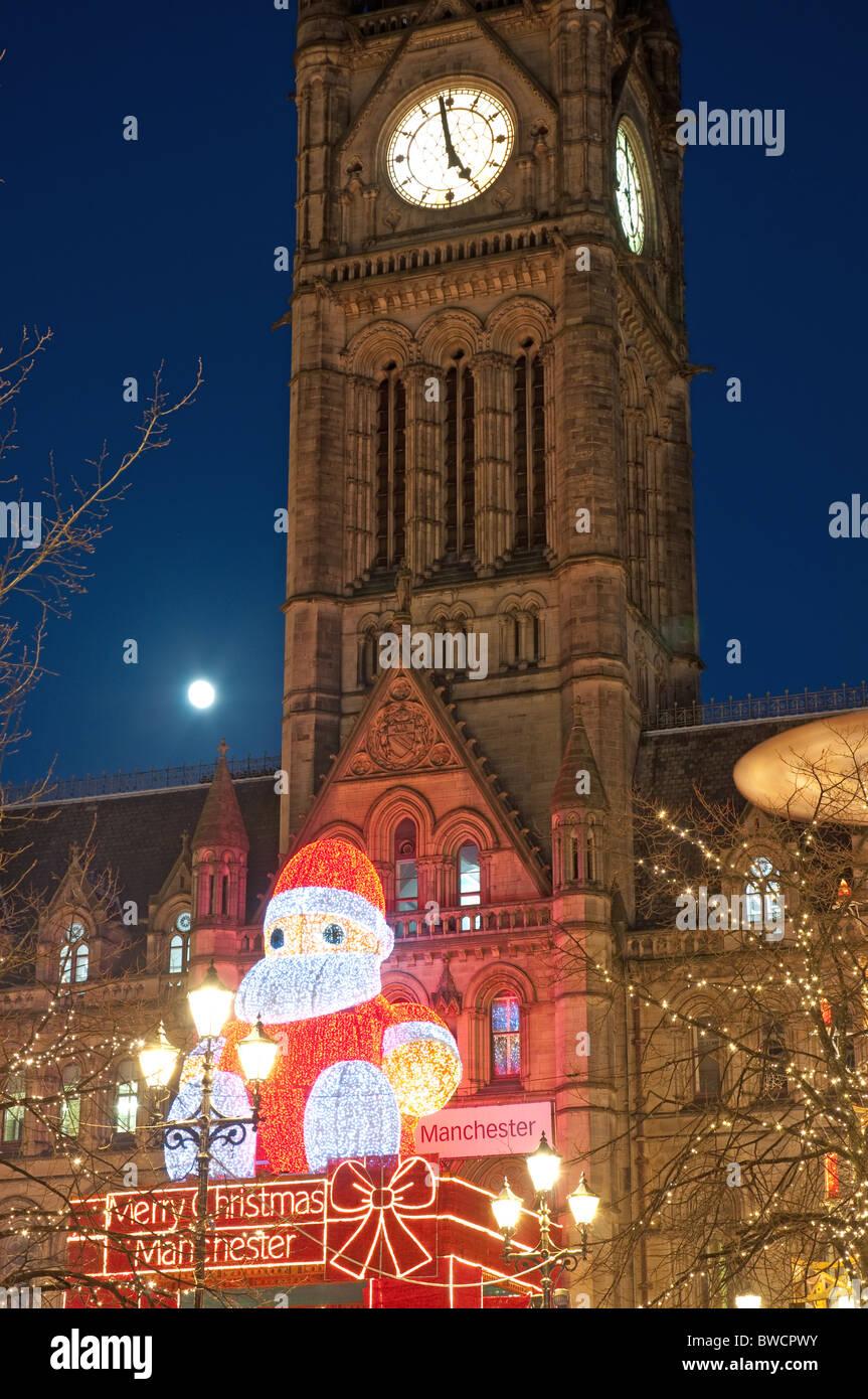 Father Christmas display, Manchester Town Hall,Albert Square.Christmas Market - Stock Image