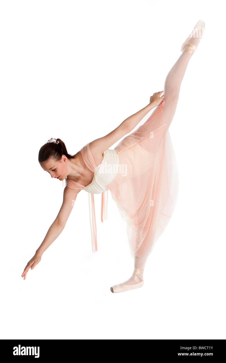 Studio shot of beautiful young ballet dancer - Stock Image