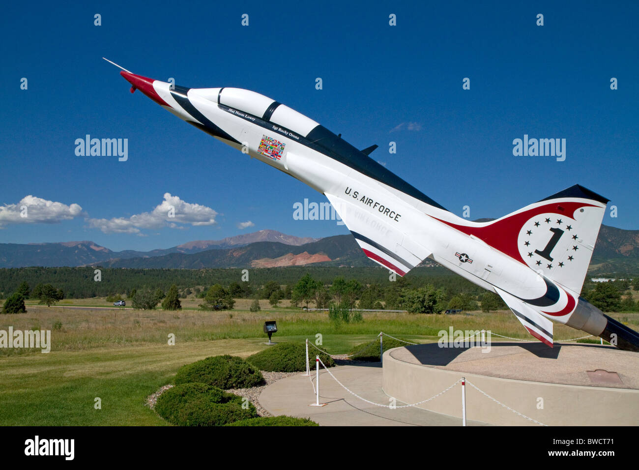 T-38 Talon American supersonic jet trainer on display at the Air Force Academy in Colorado Springs, Colorado, USA. - Stock Image