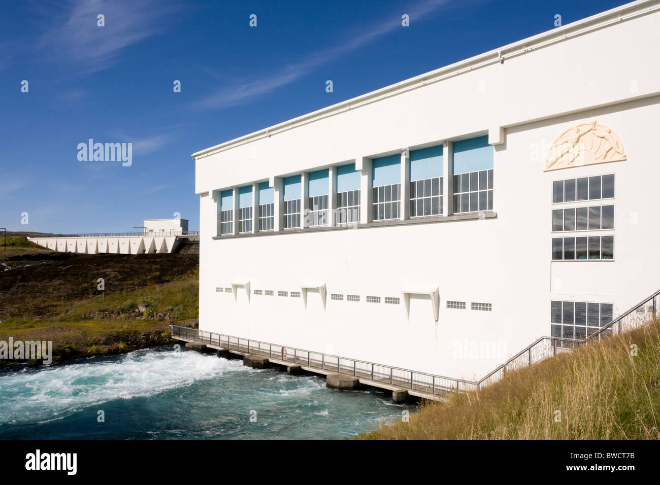 Ljosafoss hydroelectric powerplant in Sogid river, built 1937. South Iceland. - Stock Image