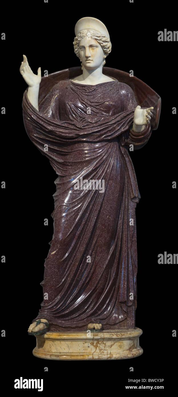Roman Goddess Statue cutout Louvre Museum Paris - Stock Image