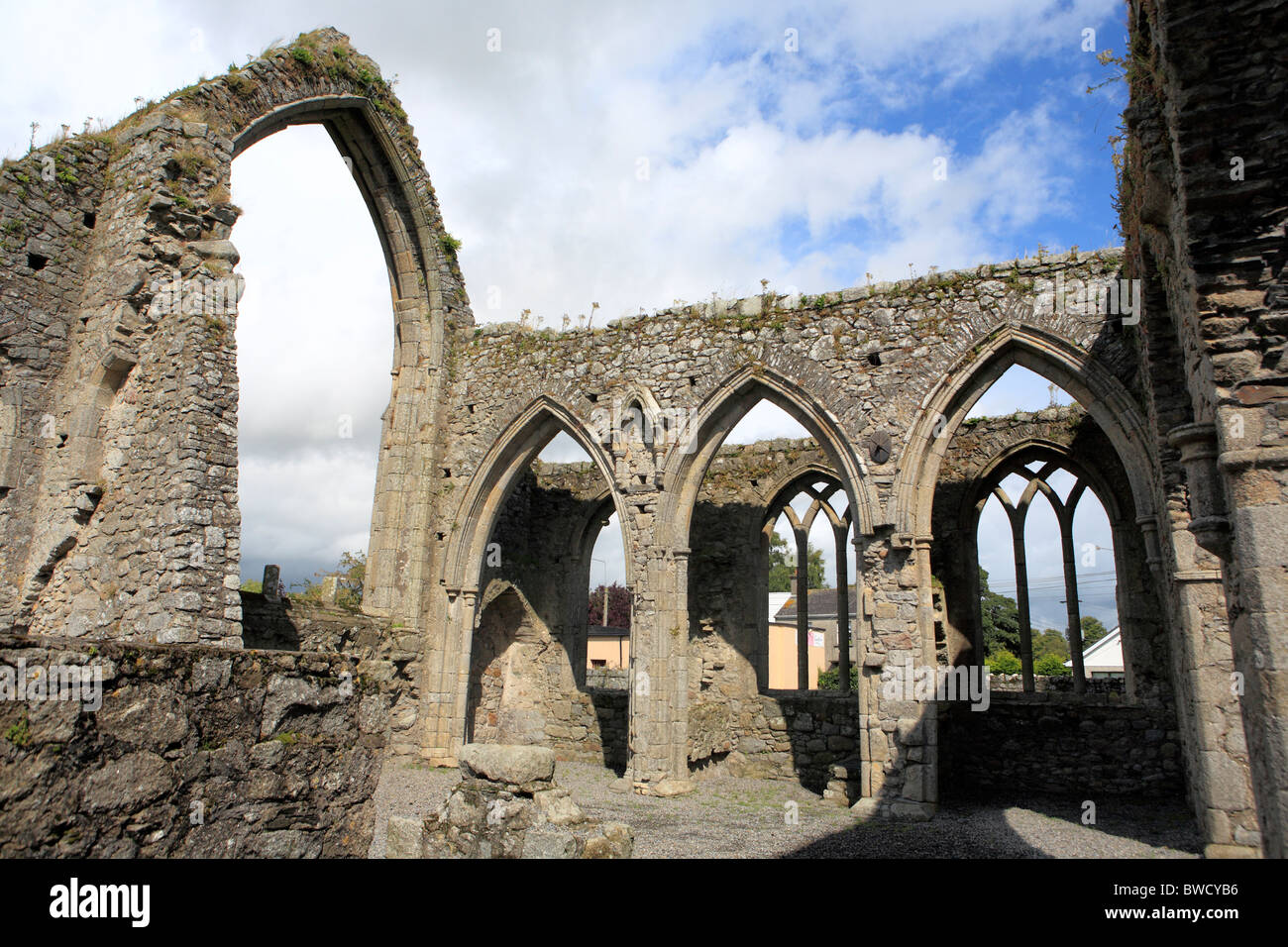 Franciscan abbey (14 century), Castledermot, Kildare county, Ireland - Stock Image