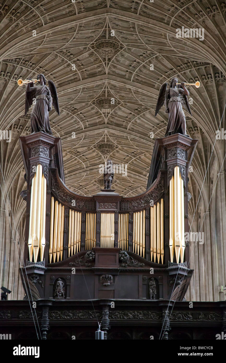 Organ & Vaulting at King's College Chapel Cambridge, England UK. - Stock Image