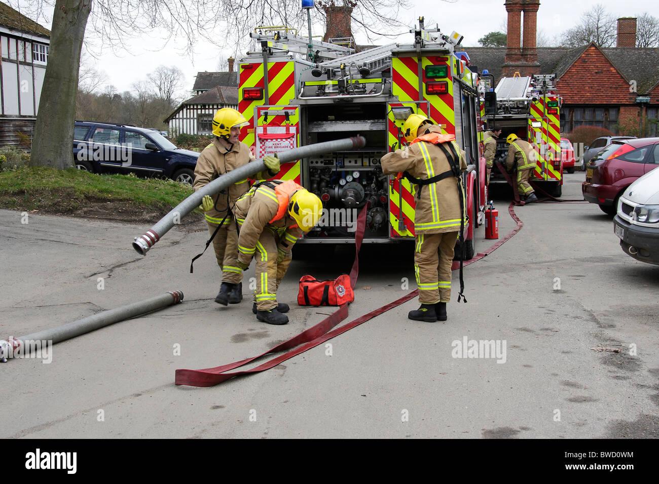 Fire crews preparing equipment - Stock Image