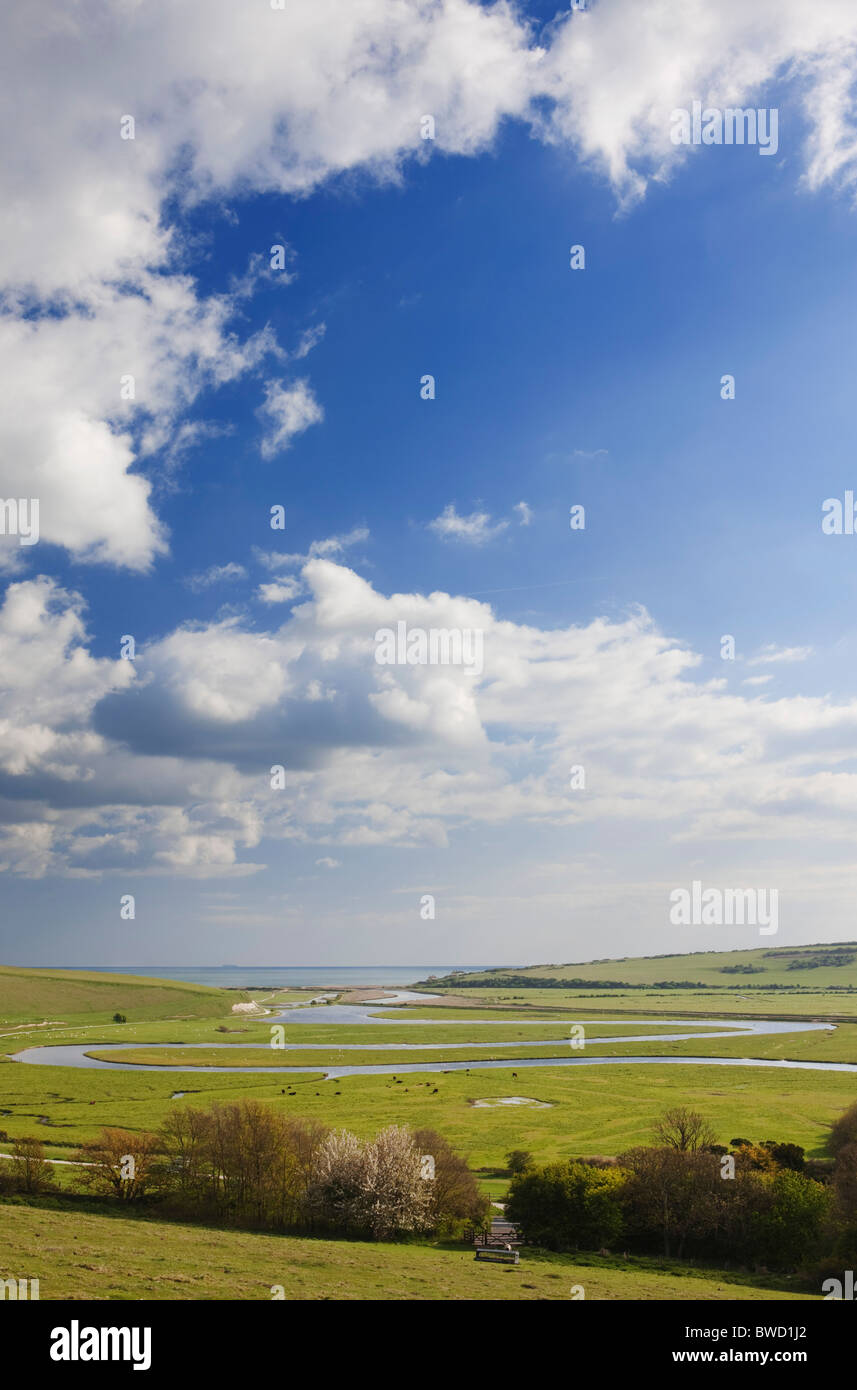 Meander of the River Cuckmere; East Sussex; England; Great Britain - Stock Image