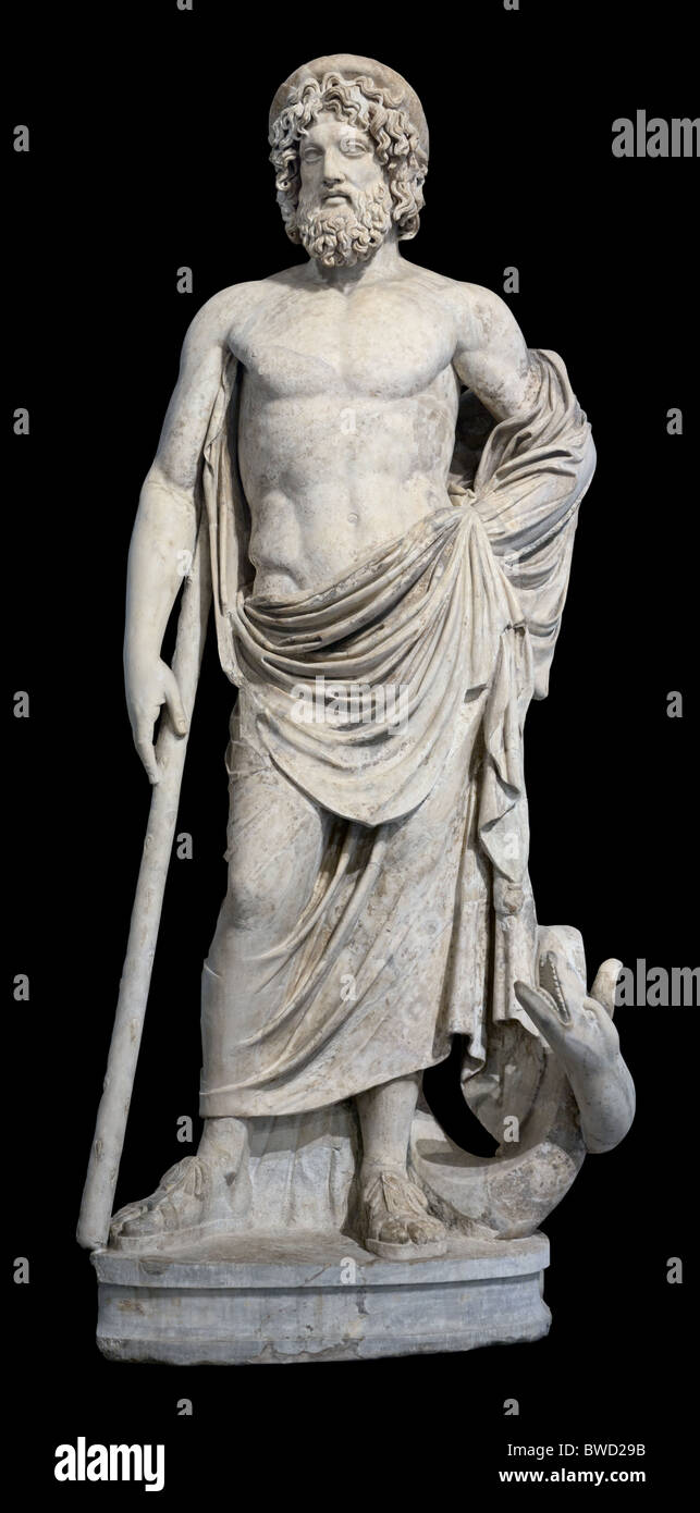 Asclepios Greek God of Medicine Statue Louvre Museum Paris - Stock Image