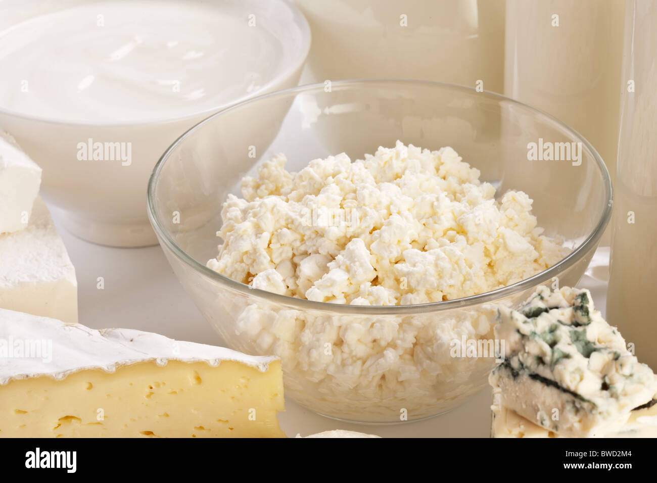 Different milk products: cheese; cream; milk. On a white background. Stock Photo