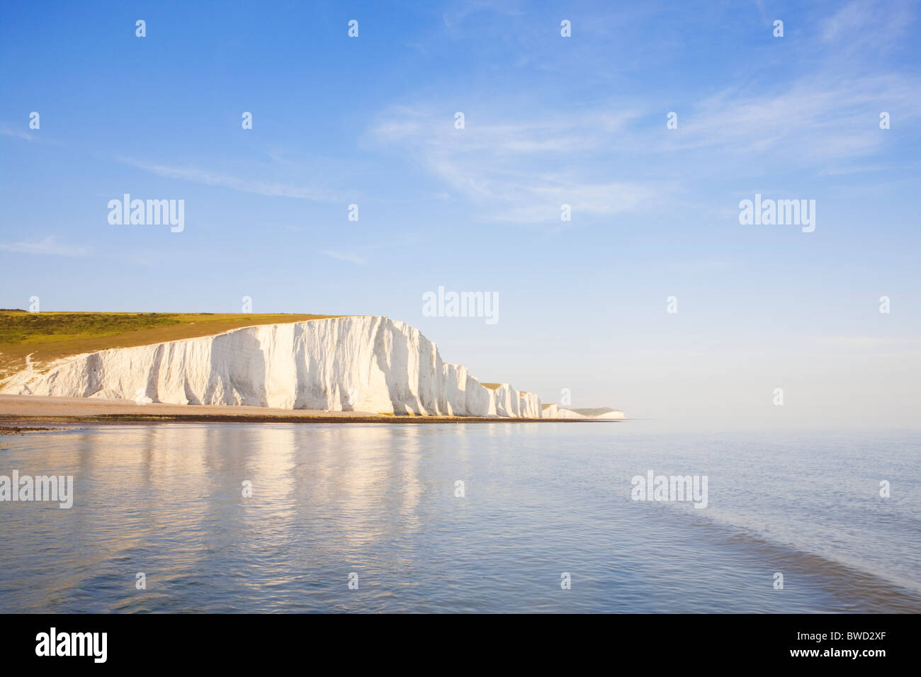 Sunset at Seven Sisters; East Sussex; England, Great Britain Stock Photo