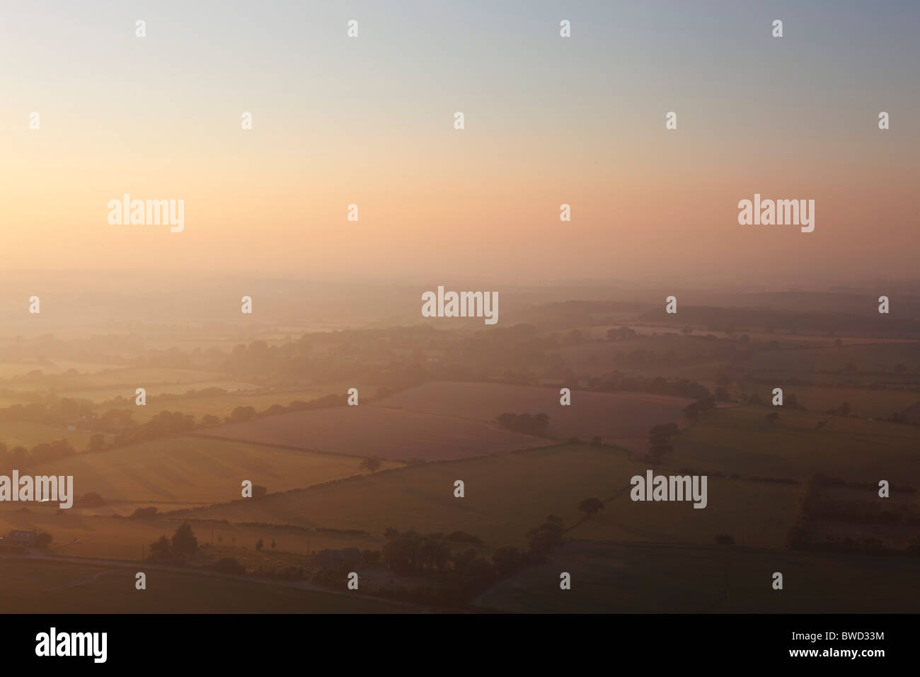 Sunset over Sussex from South Downs; England, Great Britain - Stock Image