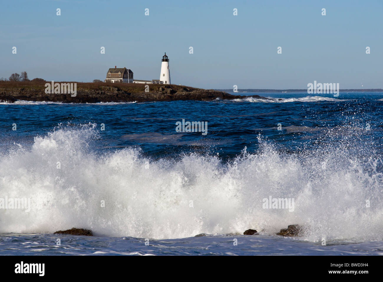 Wood Island Light Biddeford Pool Maine Stock Photo Alamy