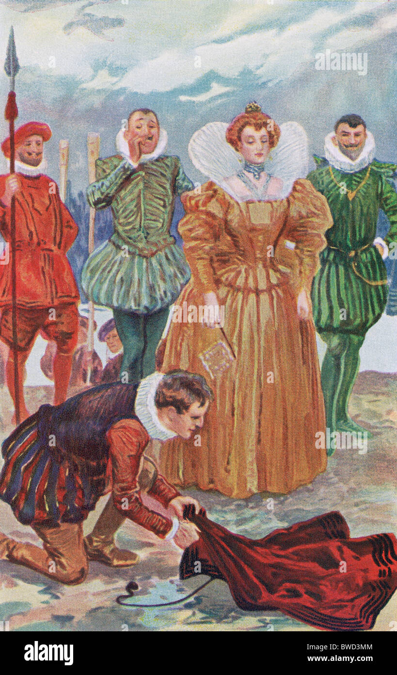 Tradition says Sir Walter Raleigh placed his cloak above a mud puddle to prevent Elizabeth I from muddying her shoes. - Stock Image