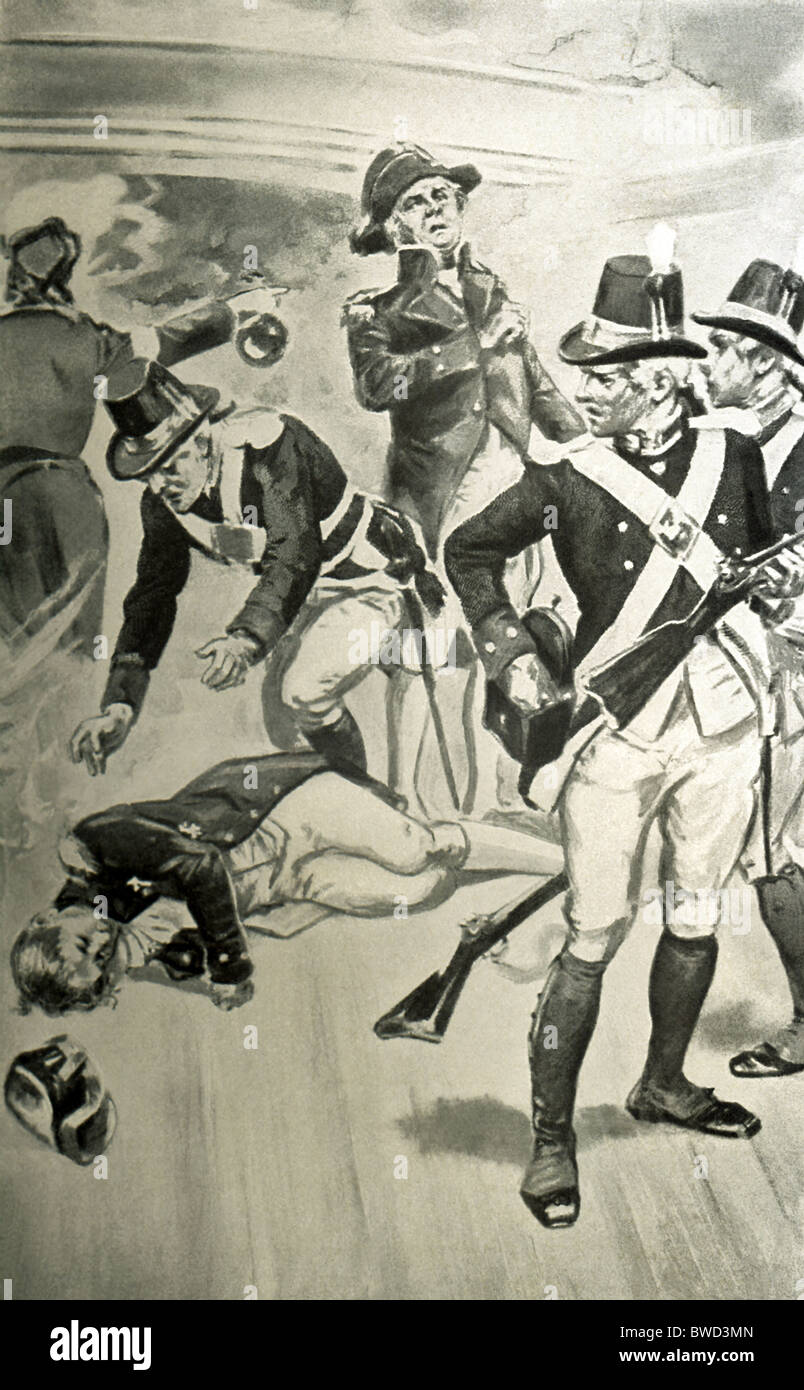 At the Battle of Trafalgar in 1805, British Admiral Horatio Nelson was fatally wounded aboard the vessel Victory. - Stock Image