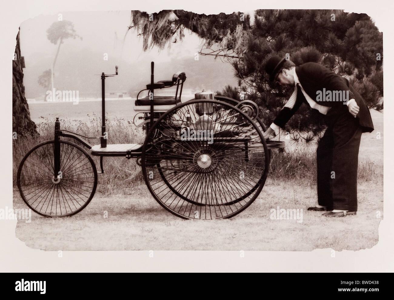 1886 Benz automobile replica - Stock Image