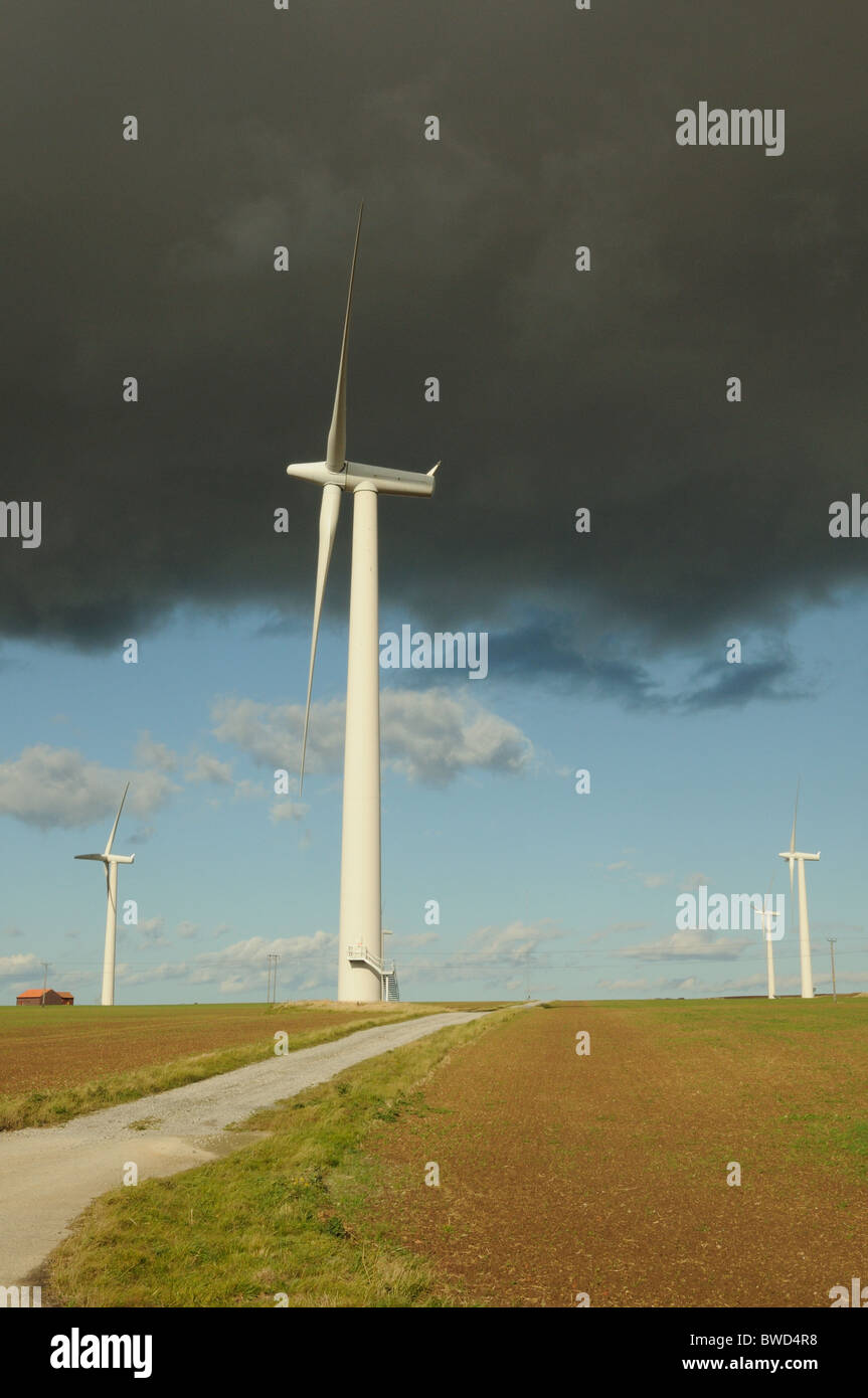 Storm clouds over wind turbines, Out Newton, East Yorkshire, England Stock Photo