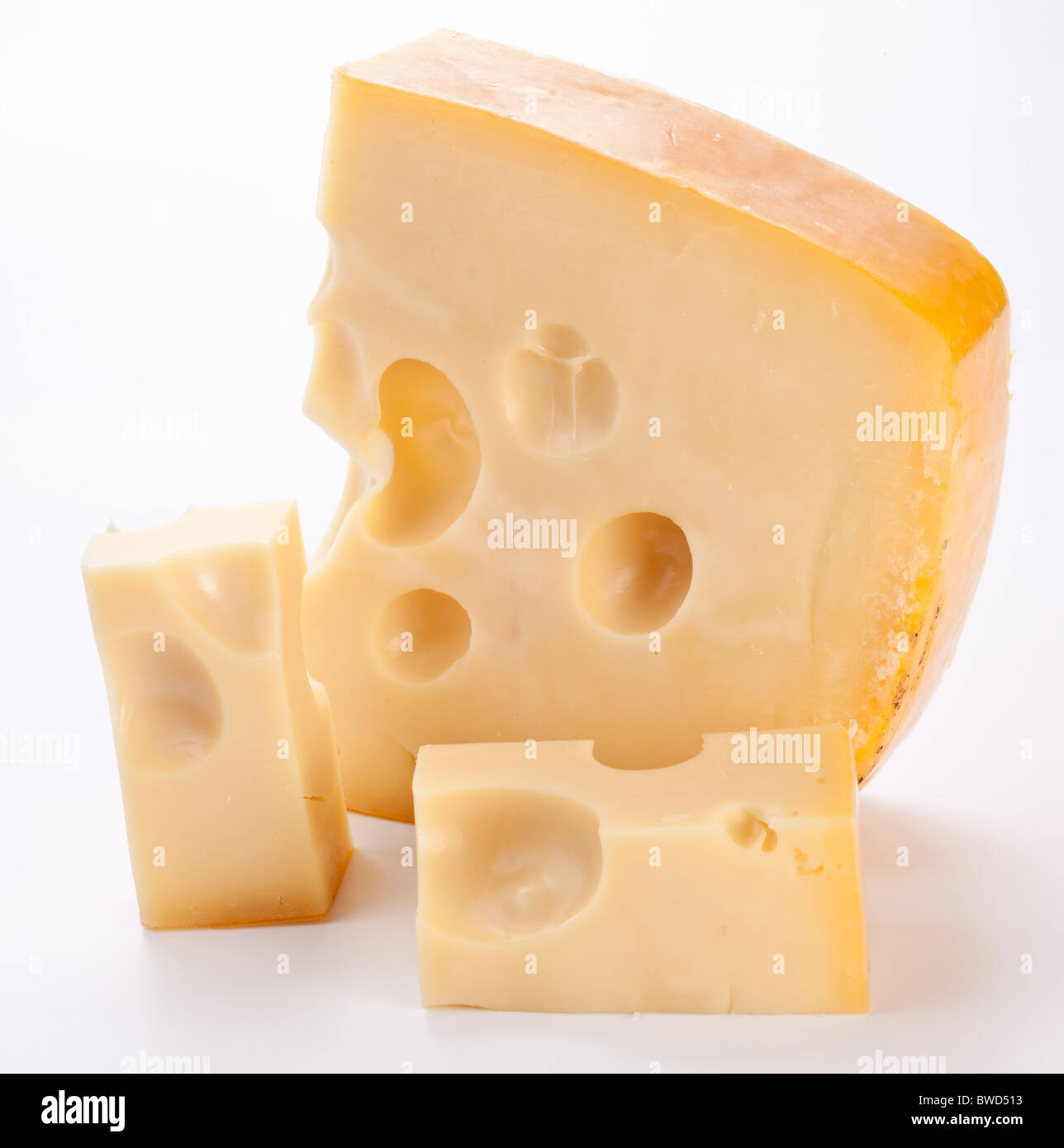 Dutch cheese on a white background. - Stock Image