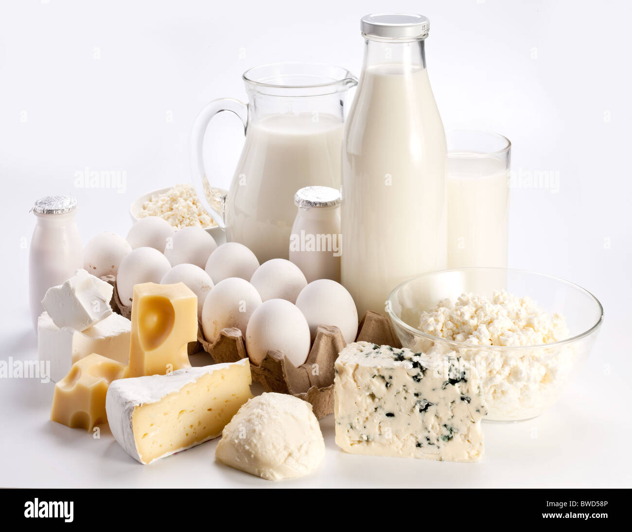 Protein products: cheese, cream, milk, eggs. On a white background. - Stock Image