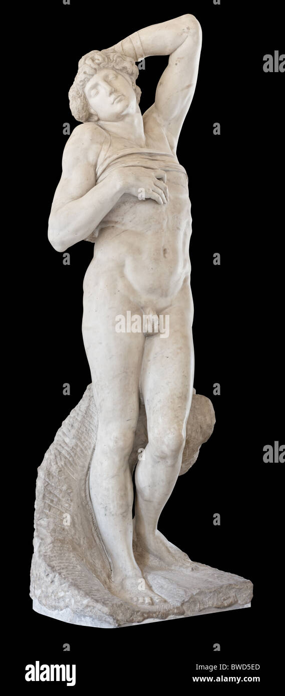 Dying Slave statue by Michelangelo, 1513-1515, Louvre Museum Paris - Stock Image