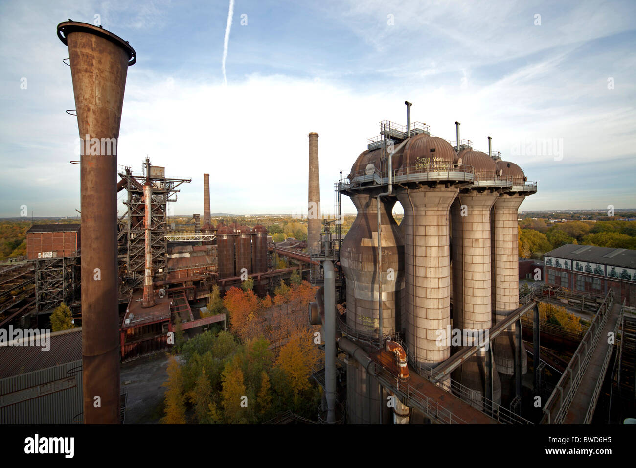 abandoned industrial complex Landschaftspark Duisburg-Nord in Germany - Stock Image