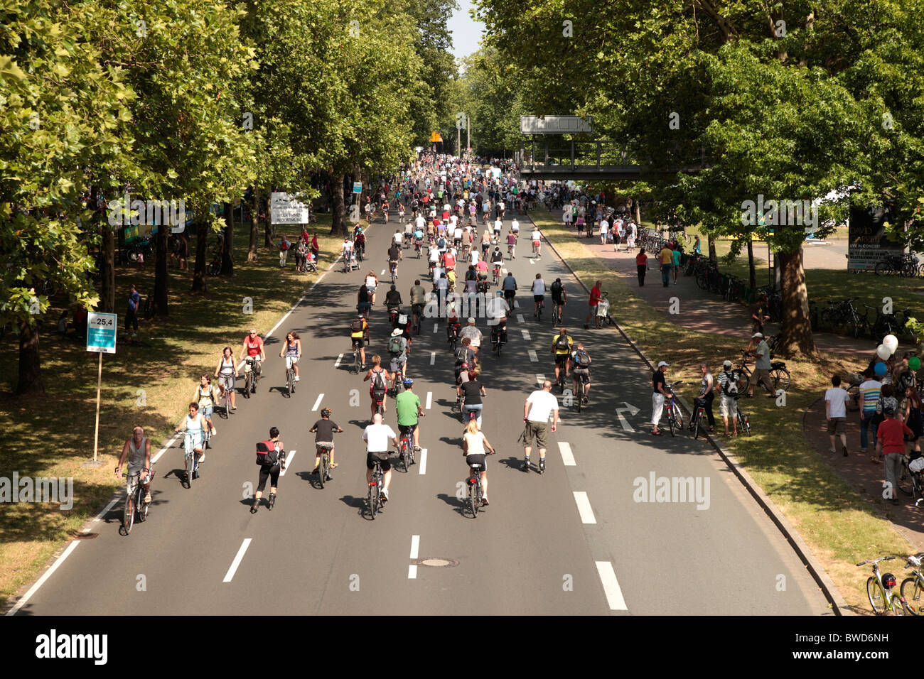 bicycles on the german highway A40 in dortmund, ruhr area - Stilleben event in Summer 2010 - Stock Image
