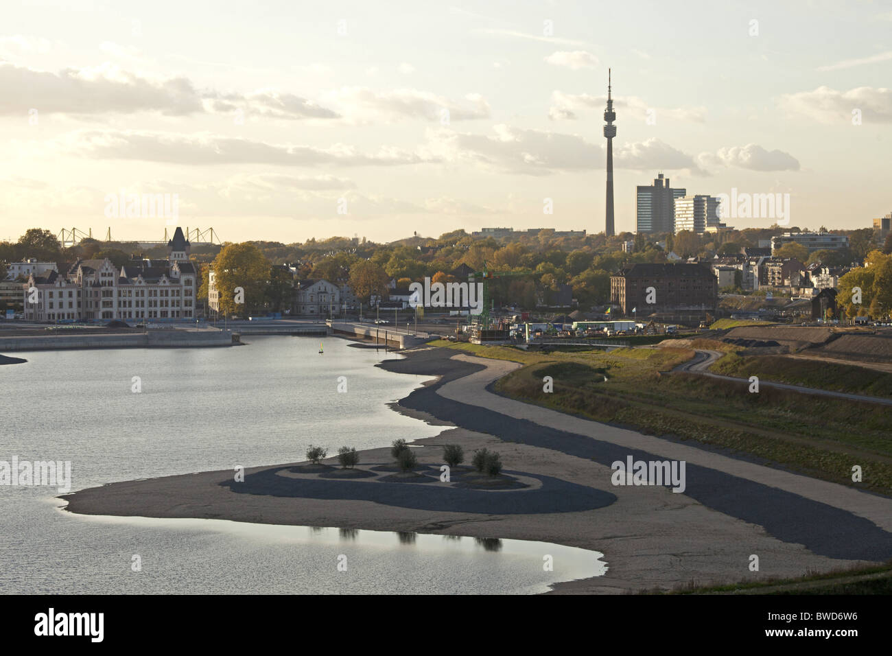 construction area of artificial  Lake Phoenix in Dortmund , Ruhr Area, Germany - Stock Image