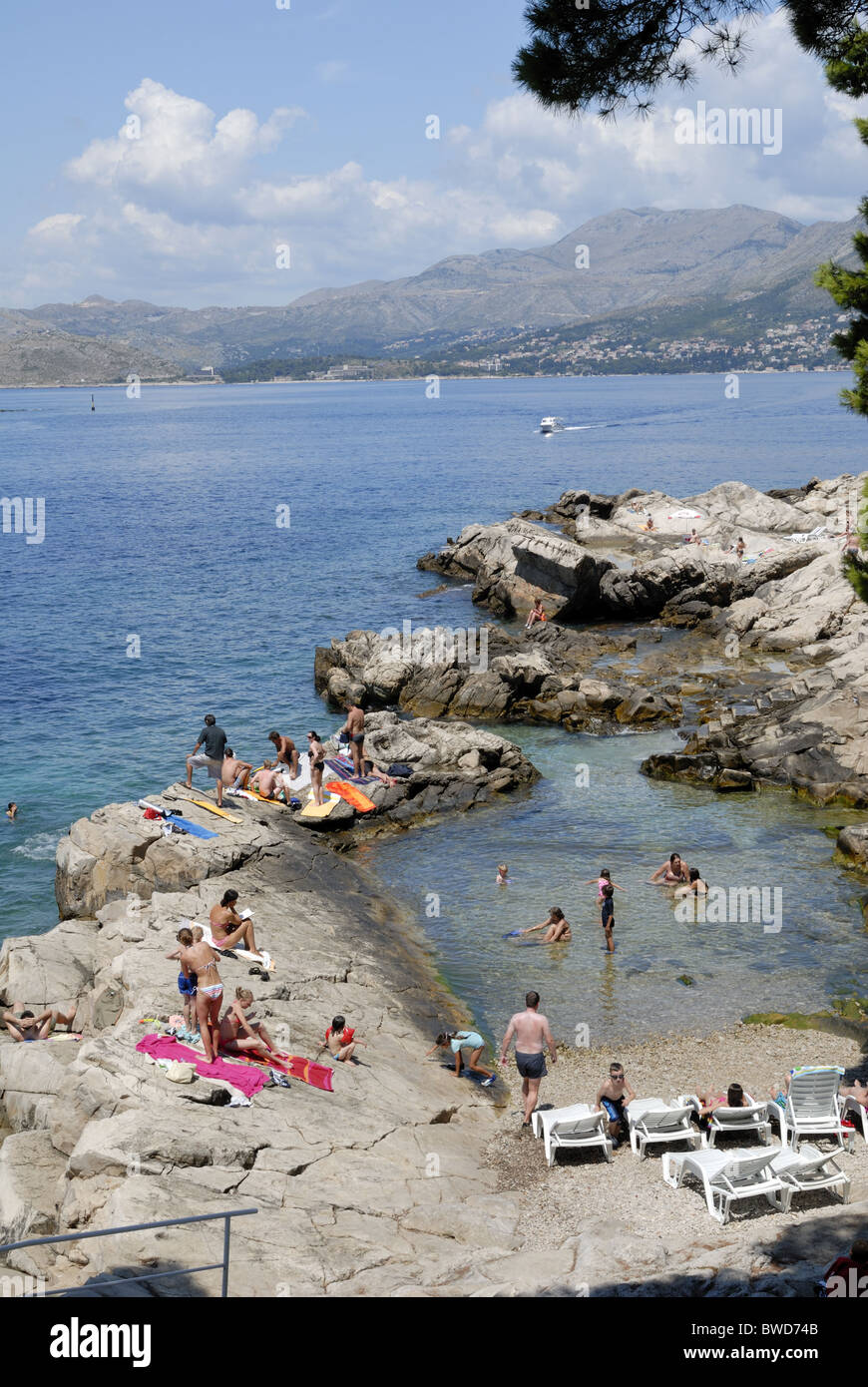 A fine view to the Kamen Mali beach in the peninsula of RAT in Cavtat Town. There are many beautiful beaches in - Stock Image