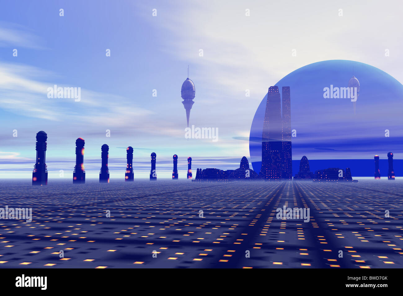 Futuristic city on a planet at the edge of the Milky Way. - Stock Image