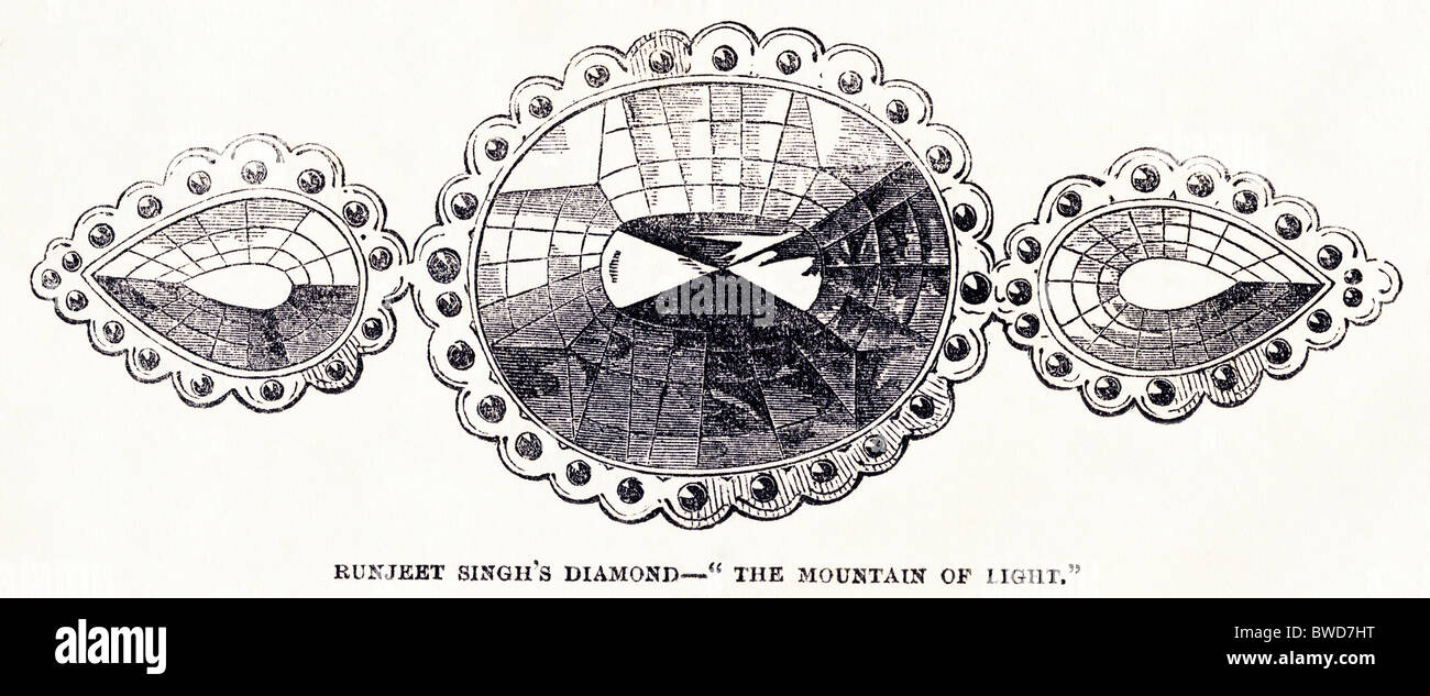 Victorian engraving of the Koh-I-Noor diamond from The Illustrated London News dated 26th May 1849 - Stock Image