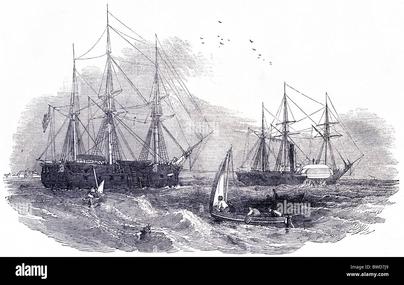 Engraving the 'North Star' towed by steam-frigate 'Stromboli' to search for the lost Arctic expedition - Stock Image