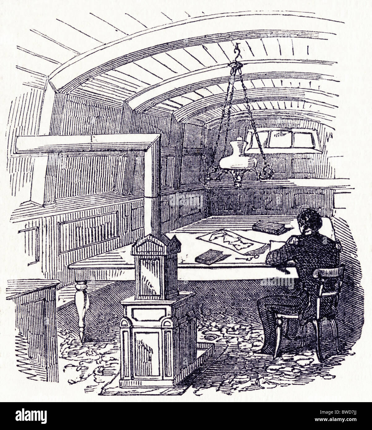 Victorian engraving of the chartroom and stove of 'North Star' used to search for lost Arctic expedition - Stock Image